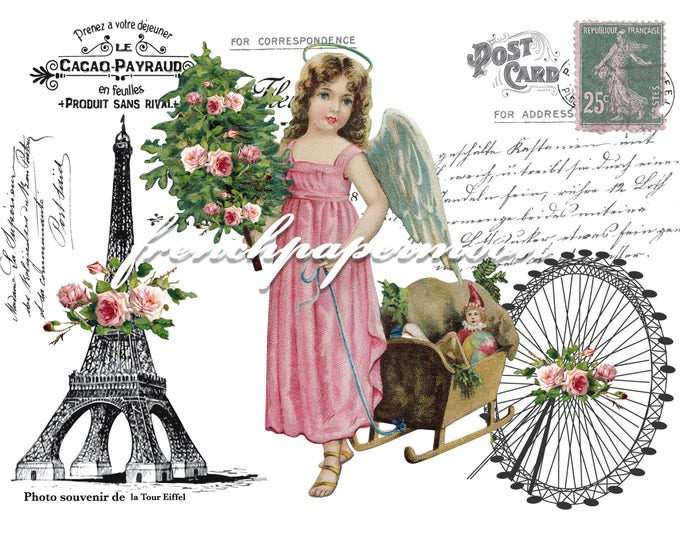 Christmas Angel in Paris Digital Image, Shabby Christmas, Paris, Roses, White Background, Printable Graphic Transfer Image 0112