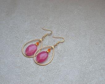 "Earrings ""Honorine"" pink agate, Swarovski Crystal, gold-plated"