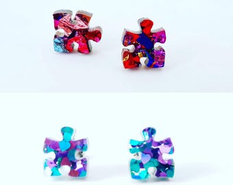 Puzzle studs - Sparkly glitter puzzle earrings - Laser cut acrylic earrings - autism earrings - autism studs- autism awareness studs
