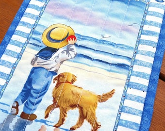 Quilted Mug Rug: Victorian boy on beach with dog, vintage seaside scene snack mat, nostalgic candle mat, 1880s Victorian Americana décor