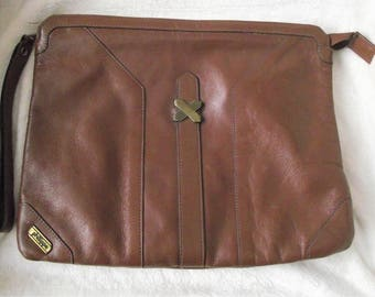 PHILLIPPE BROWN LEATHER Clutch,Brown Wallet,Brown Leather Cosmetic Case,Vintage Clutch,Ladies Accessories,Unisex Leather Pouch,Handbag,Purse