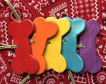 Rainbow Dog Bone Ornaments. Set of 5.