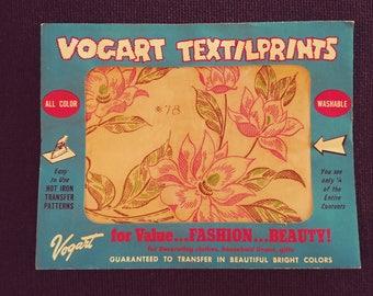 No. 78  Vogart Textilprints.  All Color Washable. Unused. Floral Themed.