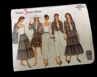 Vogue Pattern 5 Easy Pieces 2930 SZ 6 8 10 Top Skirt Pants UNCUT