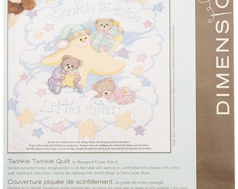 Cross Stitch KIT Stamped Baby Quilt DIMENSIONS Twinkle Twinkle w/Threads 34x43 -Free US Shipping!!!