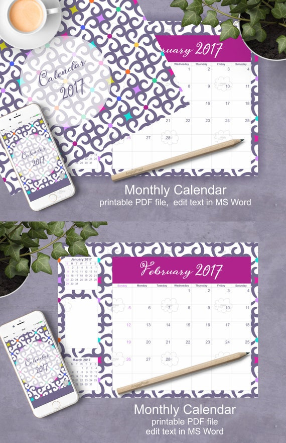 2017 Calendar Monthly Organizer, purple patterned landscape letter size planner, gift for coworkers, editable in MS Word download