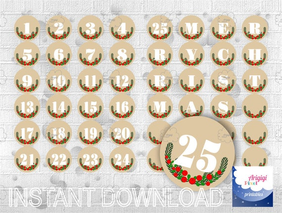 Advent Calendar, Beige, Countdown Christmas, Printable Holiday Decoration, Number 1-25 and  Merry Christmas letters , DIY , download  PDF