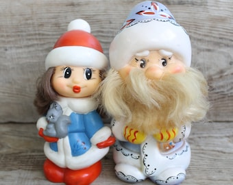 Vintage rubber Toys Ded Moroz and Snegurochka  / Santa Claus and Snow-Maiden /   Christmas Decoration  Ornament / New Year / 60s