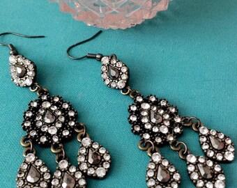Crystal & Antiqued Brass Glam Earrings