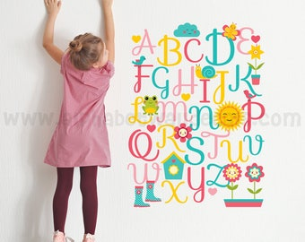 Alphabet Nursery Wall Decal - Playroom Wall Decal - Educational Wall Decal - Play Room Wall Decal - Girls Room Wall Decal - 01-0009