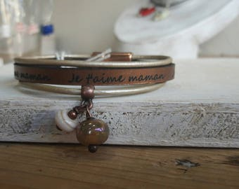 "Mother's leather bracelet ""I love you MOM"", copper, artisan made Lampwork beads"