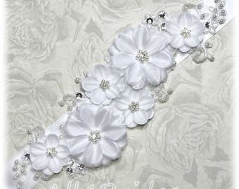 Wedding bridal sash belt, white flowers, lace, pearls and crystals satin sash belt. Wedding gown sash.
