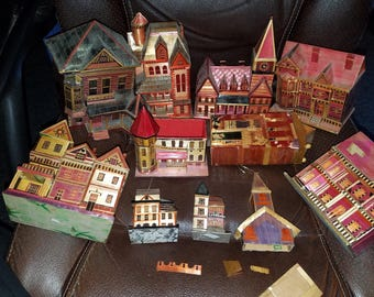 Vintage Set of Wheat Straw Houses