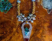 Tribal Fusion Necklace, Rutilated Quartz Necklace,  Tanfouk Necklace, Talhakimt Necklace, Raw Crystal Necklace, Boho Belly Dance Necklace
