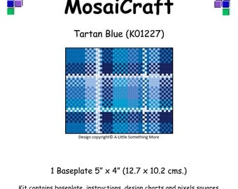 MosaiCraft Pixel Craft Mosaic Art Kit 'Tartan Blue' (Like Mini Mosaic and Paint by Numbers)