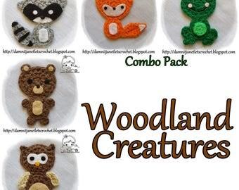 Woodland Creatures Appliques - PDF Crochet Pattern - Instant Download