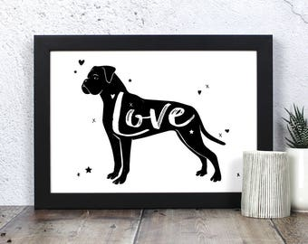 Boxer Dog 'Love' Print - Gift for Boxer Dog Lovers
