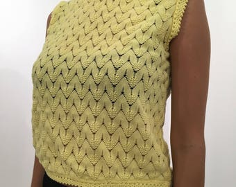 70s Yellow Knit Top