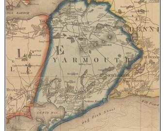 Yarmouth, Massachusetts 1858 Old Town Map Custom Print - Barnstable Co.