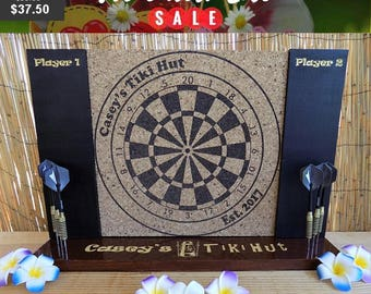 President's Day Sale ends 2/19! Personalized Engraved Dart Board w/ Chalkboard sides and Dart Holding base. A man cave must have!
