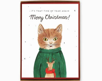 Box of 8 Sweater Cat greeting cards - Holiday Cards - Christmas cards - Merry Christmas / HLY-SWEATERCAT-BOX