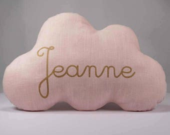 Personalized pink linen cloud cushion. personalized baby birth gift. customizable birth gift. baby shower gift