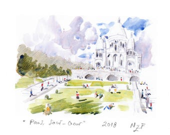 Paris Sacré-Coeur fine art print of Paris wall decor PAris wall art printing Paris home decor watercolor print france decor paris wall art