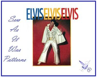 1990s FF Elvis Presley Costume Simplicity 8651 Jumpsuit Cape Flares Belt Vintage Sewing Pattern Men's Size 34 36 38 87 92 97 cm Knit Fabric