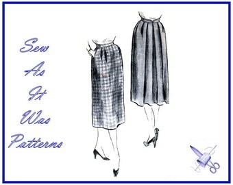 "1950s Vogue 7600 Three Piece Skirt Released Pleats Side Pocket Vintage Sewing Pattern Size 14 Waist 26"" 66cm"