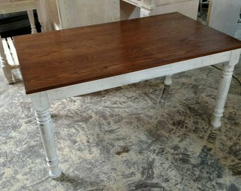 Rustic Oak Farm Table With Matching Bench Seats