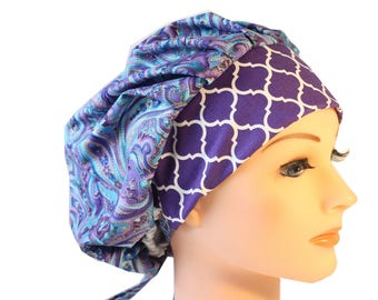 Scrub Cap Surgical Hat Chef     Hat Bouffant Blue Purple Paisley Quatrefoil  2nd Item Ships FREE