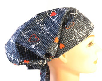 Scrub Hat Cap Chemo Bad Hair Day Hat  European BOHO EKG Calling All Nurses 2nd Item Ships FREE
