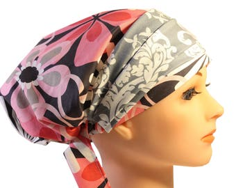 Scrub Hat Cap Chemo Bad Hair Day Hat  European BOHO Banded Pixie Tie Back Pink Flower Grey Damask Band 2nd Item Ships FREE