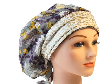 Scrub Cap Surgical Medical Hat Chemo Chef Vet Doctor Nurse Hat Banded Bouffant Tie Back Grey Purple Floral Gold Band 2nd Item Ships FREE