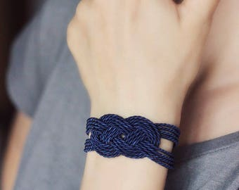 Nautical  Blue Bracelet Blue Knot Bracelet Rope Bracelet Blue Cord Bracelet Friendship Bracelet Blue Rope Jewelry Knot Jewelry Sailor Knot