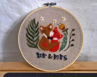 Mr and Mrs fox couple art - textile artwork - perfect wedding gift