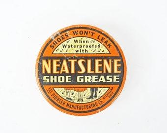 Vintage Tin Can, Rare Shoe Polish Tin, Collectible Advertising Tin, 1940s Round Tin, Neatslene Shoe Grease, Shoe memorabilia, Orange Tin Box
