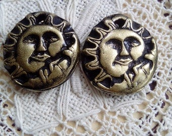 Black and gold sun and moon earring charms, polymer clay charms, handmade components, unique, jewellery, round earring charms, craft supply