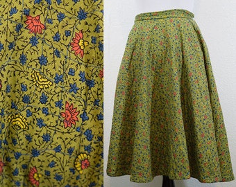 1950s Quilted Green Floral Circle Skirt XS