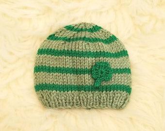 Shamrock Baby Hat • St Patrick's Day Baby Hat • St. Patrick's Day Newborn Prop • St. Patrick's Day Pregnancy Announcement Prop