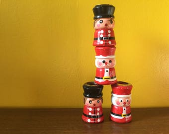 Vintage Christmas  Candle Stick Set Santa Solider