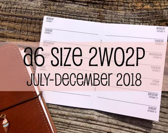 Traveler's Notebook A6 Size Week on One Page NO Grid Inserts 2WO2P {July-December 2018} #500-27