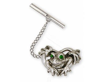 Frog Tie Tack Jewelry Sterling Silver Handmade Frog Tie Tack FG5-XTT