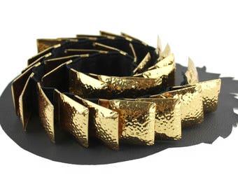 Gold Square Metal Scale Elastic Belt