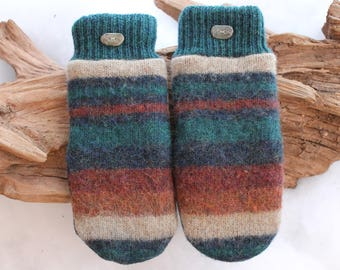 Wool sweater mittens lined with fleece with Lake Superior rock buttons in blue, blue-green, tan, orange, bomb cyclone gear, winter, birthday