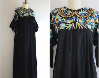 Mexican Embroidered Maxi Dress/ Black Boho Dress/ Mexicali Cotton Mumu/ Women's Size Medium