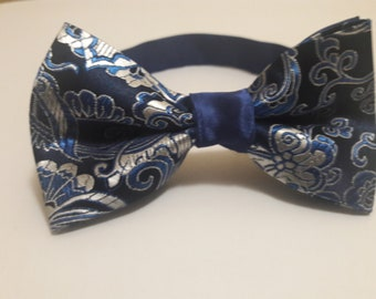 Navy and Silver Two Toned Bow Tie