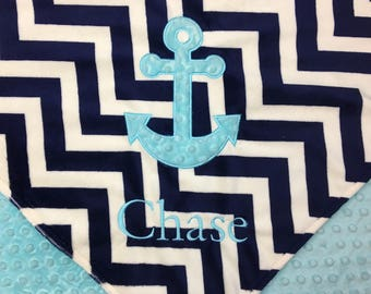 Anchor baby quilt etsy personalized baby blanket anchor baby blanket nautical blanket minky baby blanket made negle Images