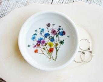 Pressed Flowers Ceramic Ring Dish, Real Flowers Dish, Nature Ring Dish, Rustic Wedding Gift,  Jewelry Organizer, Floral Bowl, Organizer