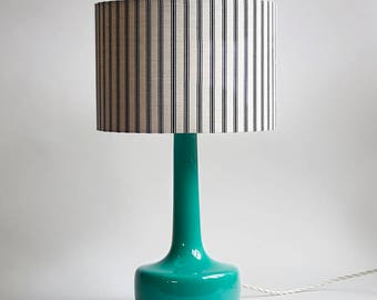 Bell Bottom Teal Table Lamp with Ticking Lampshade